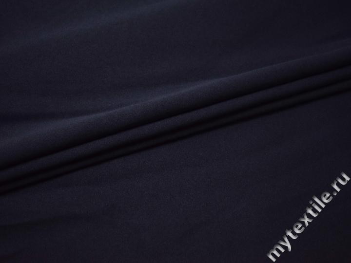 Костюмный креп синий полиэстер с эластаном ВБ212