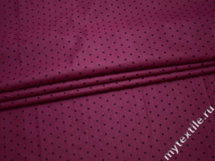 Хлопок пурпурный в черный горох ВА345