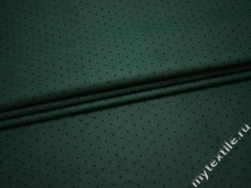 Хлопок тёмно-зеленый в черный горох ВА347
