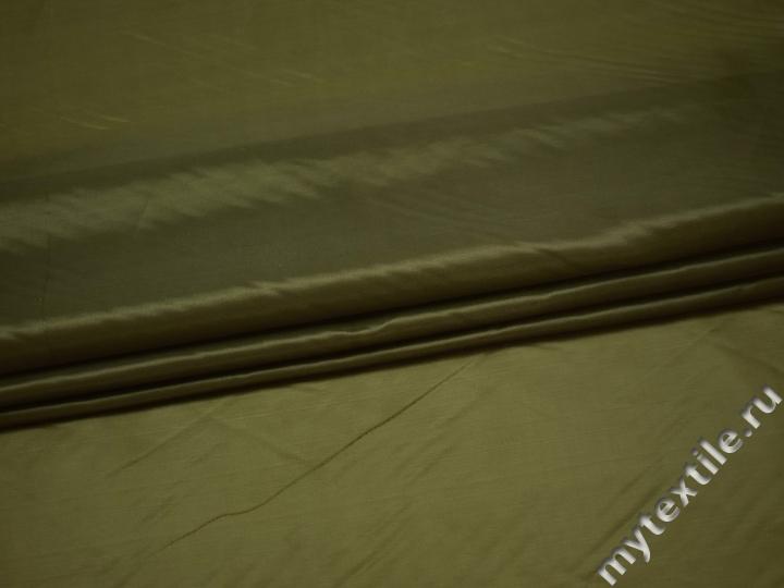 Подкладочная зеленая ткань полиэстер ГЕ485