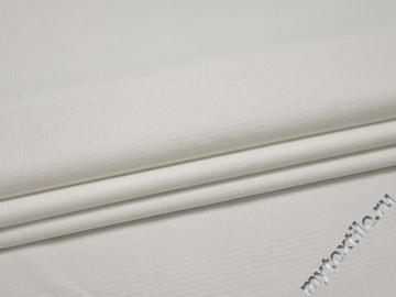 Костюмная фактурная белая ткань хлопок эластан В/В216