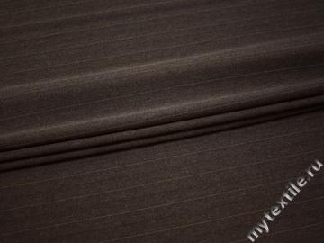 Костюмная коричневая ткань в полоску полиэстер эластан ВВ426