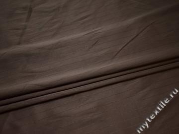 Костюмная коричневая ткань в полоску из хлопка с эластаном ВВ441