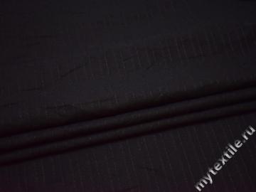 Костюмная черная ткань в полоску хлопок ВВ442