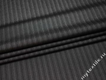 Костюмная серая ткань полоска вискоза хлопок эластан ВВ519