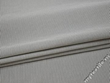 Костюмная черная в полоску ткань вискоза эластан ВВ552