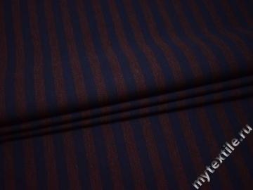 Костюмная коричневая ткань в полоску вискоза эластан ВВ538