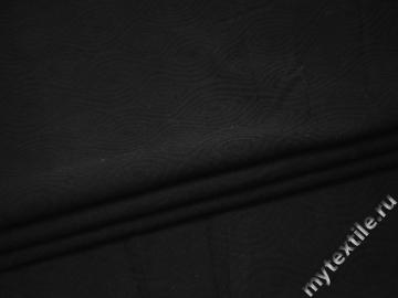Костюмная черная ткань геометрический узор хлопок ВВ19