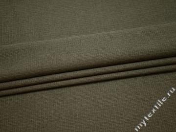 Костюмная цвета хаки ткань в полоску полиэстер ВА428