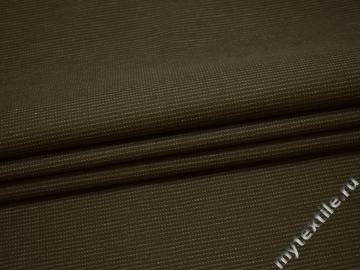 Костюмная зеленая ткань  в полоску хлопок ВВ42