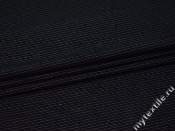 Костюмная тёмно-синяя ткань в полоску хлопок полиэстер эластан ВВ410