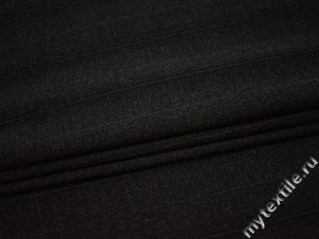 Костюмная тёмно-серая ткань в полоску полиэстер ВВ411