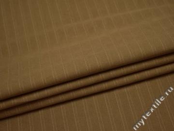 Костюмная бежевая ткань в полоску хлопок ВВ415