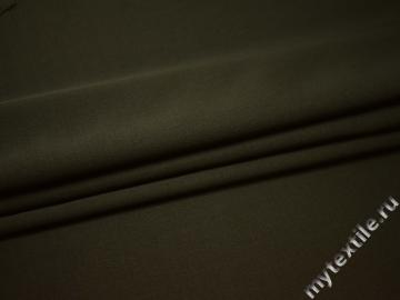 Костюмная цвета хаки ткань шерсть полиэстер ГД232
