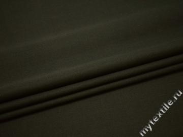Костюмная цвета хаки ткань шерсть полиэстер ГД228