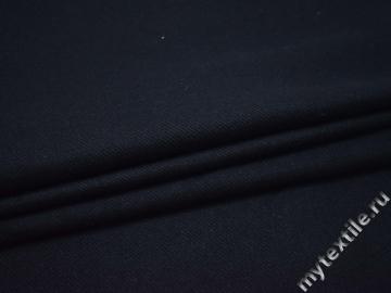 Костюмная синяя фактурная ткань хлопок шерсть полиэстер   ГД147