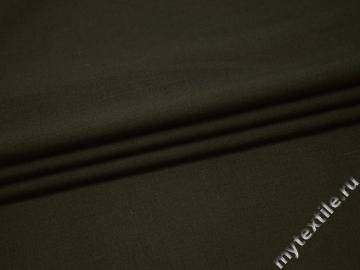 Костюмная цвета хаки ткань шерсть полиэстер ГД238
