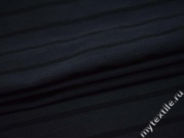 Костюмная синяя ткань в черную полоску хлопок полиэстер ВГ426