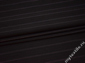 Костюмная черная ткань в красную и розовую полоску хлопок эластан ВВ51