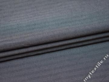Костюмная синяя ткань в елочку хлопок полиэстер ВВ510