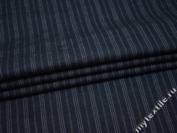 Костюмная синяя в серую полоску ткань хлопок ВВ514