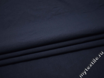 Костюмная фактурная синяя ткань полиэстер эластан ВГ344