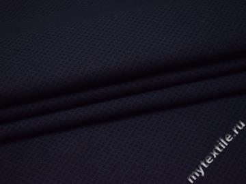 Костюмная синяя ткань с геометрическим узором хлопок полиэстер ВГ339