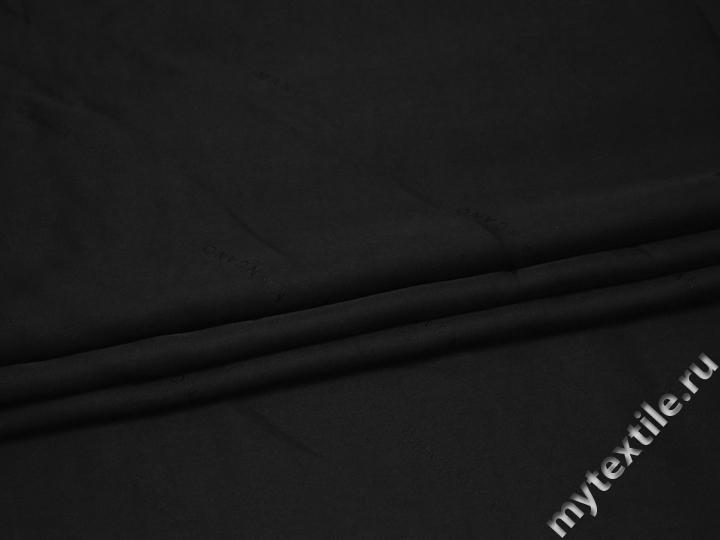 Подкладочная черная ткань надписи вискоза полиэстер ГА2106