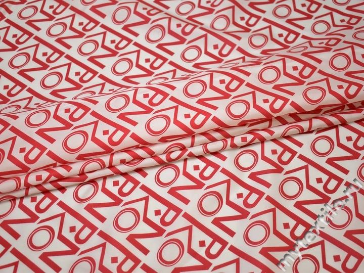Подкладочная белая ткань надписи вискоза ГА188