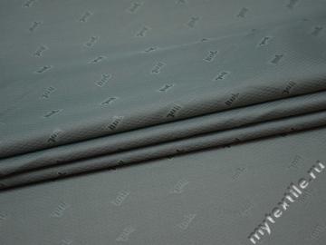 Подкладочная серая ткань надписи полиэстер ГА154