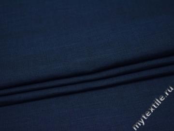 Костюмная синяя фактурная ткань хлопок полиэстер ВГ25