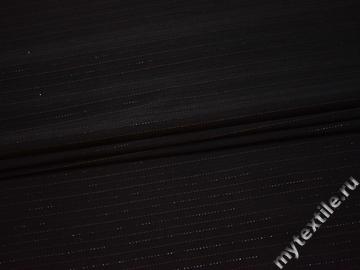 Костюмная черная ткань полоска полиэстер эластан ВГ227
