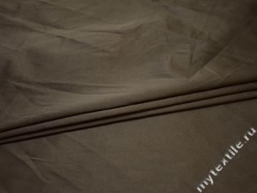 Костюмная коричневая ткань хлопок полиэстер эластан ВГ213