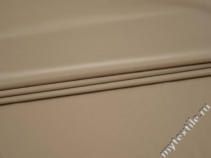Курточная однотонная бежевая ткань полиэстер Б/Е1-90
