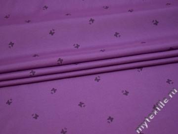 Курточная сиреневая ткань бабочки буквы полиэстер Б/Е1-61