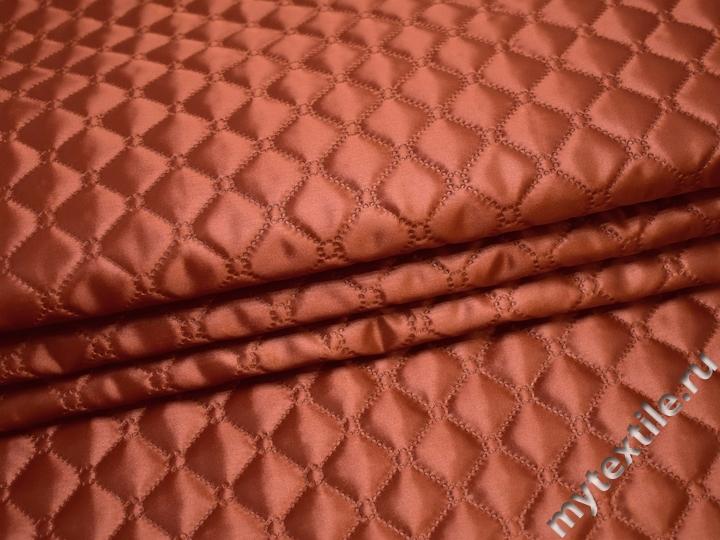 Подкладка стеганая терракотовая из полиэстера ДГ455