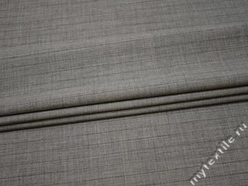 Костюмная ткань серая фактурная полоска шерсть полиэстер ГД245