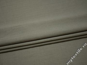Костюмная ткань серо-зеленая  фактурная полоска шерсть эластан ГД329