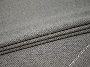 Костюмная ткань серая фактурная шерсть полиэстер ГД332