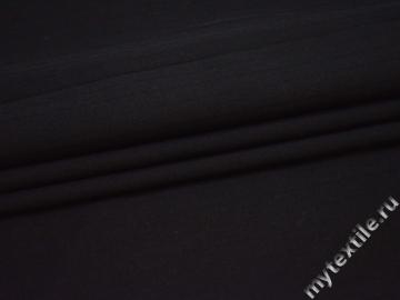 Костюмная ткань черная фактурная полоска шерсть ГД334