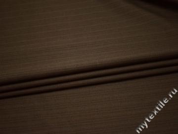 Костюмная коричневая ткань полоска шерсть полиэстер ГД46