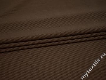 Костюмная коричневая в полоску ткань хлопок полиэстер эластан ВЕ54