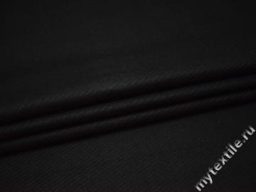 Костюмная черная фактурная ткань шерсть полиэстер ГД446
