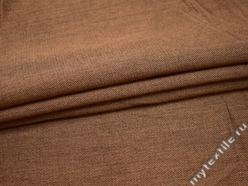 Костюмная коричневая фактурная ткань шерсть полиэстер ГД447