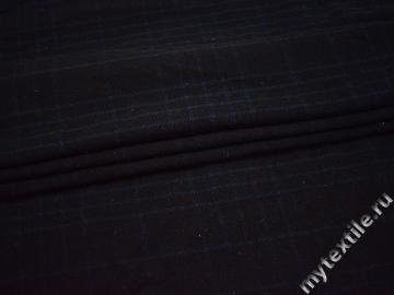 Костюмная серо-синяя ткань полоска шерсть полиэстер ГД513