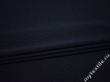 Костюмная фактурная тёмно-синяя ткань полиэстер эластан ГГ526
