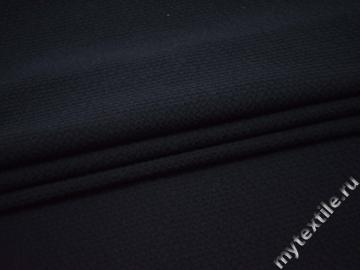 Костюмная фактурная тёмно-синяя ткань хлопок ГГ527