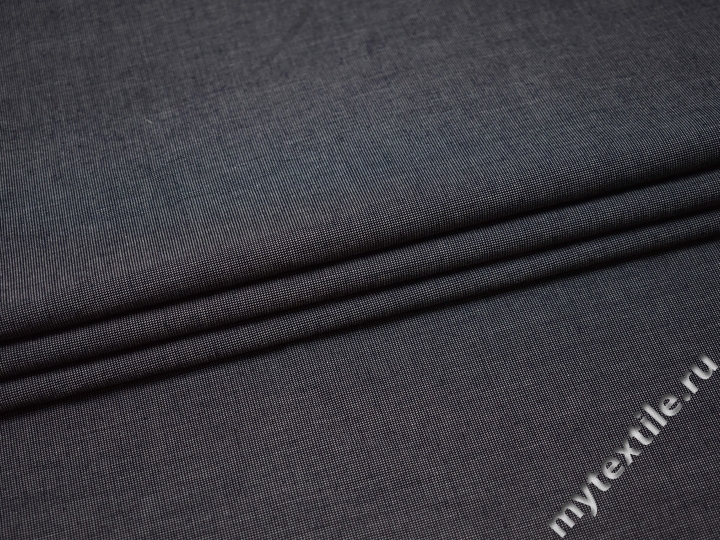 Костюмная тёмно-синяя ткань хлопок ВД110