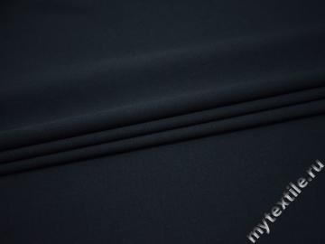 Костюмная тёмно-синяя ткань шерсть полиэстер лайкра ШР12