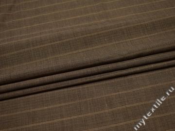 Костюмная коричневая ткань полоска шерсть полиэстер ГД29